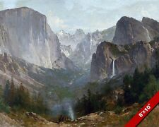 Yosemite Valley & Native Americans Painting Art 8X10 REAL CANVAS GICLEE PRINT
