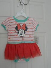 TOO CUTE DISNEY BABY GIRL'S MINNIE MOUSE SKIRTED CREEPER SIZE 6-9 M NWT MSRP $30