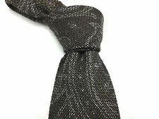 $235 NWT ISAIA Green Brown Paisley Wool/Silk Tie Italy W - 3 3/8 L - 58