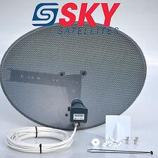 Sky Freesat Satellite Dish & Quad Lnb Complete 100M White Single RG6 Cable Kit