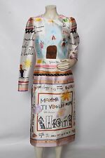 DOLCE & GABBANA White Silk Child Drawings Sheath Dress Sz 42 US 6 NWT $3,995