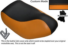 BLACK & ORANGE CUSTOM FITS HYOSUNG SF 50 FRONT LEATHER SEAT COVER