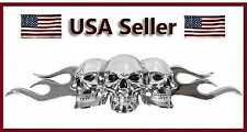 Chrome 3D Skull/Flame Black Eyes Emblem Decal Motorcycle Harley Davidson/chopper