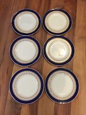 """Hermoso Conjunto De 8 Royal Worcester Regencia Cobalto 8"""" platos para ensalada-borde liso"""