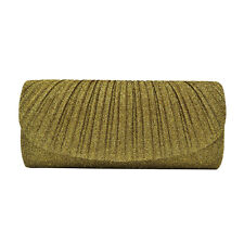 Premium Pleated Metallic Glitter Flap Clutch Evening Bag Handbag - Diff Colors