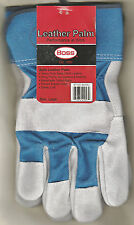 Boss Men Work Wrist Glove, Blue Cotton-Suede Leather Palm, Safety Cuff Unlined L