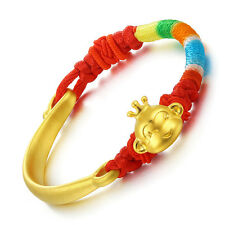 Authentic 24k Yellow Gold Half Bangle with Monkey Bead Bracelet 16cm Length