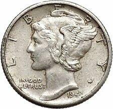 Mercury Winged Liberty Head 1941 Dime United States Silver Coin Fasces i43078