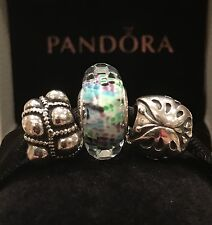AUTHENTIC PANDORA LOT CHARMS. Butterfly, Journey, Tropical Sea Murano Glass Bead