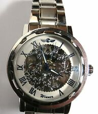 "NICE MENS UNISEX ""WINNER"" SKELETON WINDING WATCH WRISTWATCH SILVER TONE RUNS"
