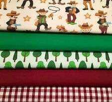 Fat Quarters Bundles Dressmaking Fabric Craft Bunting Gingham Cowboys Wild West
