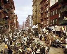 New 8x10 Photo: Color View of Crowds at Mulberry Street in New York City, 1900