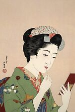 Japanese Art Print: Woman Applying Rouge by Goyo - Fine Art Reproduction