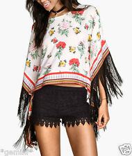 H&M LOVES COACHELLA Size 16 / 42 BLUMEN FLORAL KIMONO FRINGES TOP TUNIKA FRANSEN