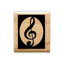 Boxed TREBLE CLEF Mounted rubber stamp, music #10
