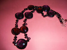 Vintage Faceted Glass Bead Necklace Gorgeous Purple with Sterling 925 Clasp