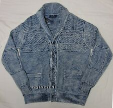 NWT Polo Ralph Lauren Vintage Indigo dyed distressed  shawl sweater cardigan S