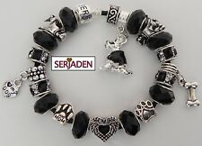 Black Dog Lover Heart & Paw Charms on a Black Authentic Serjaden Bracelet #41