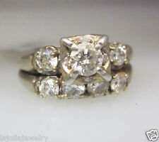 14K WHITE GOLD DIAMOND WEDDING SET LADIES RING SIZE 6