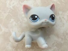 Littlest Pet Shop RARE Standing Cat #246 Grey Gray Pink Blue Short Hair LPS