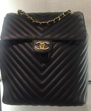 BNIB LARGE CHANEL LEATHER  BLACK CHEVRON URBAN SPIRIT GOLD HDW BACKPACK