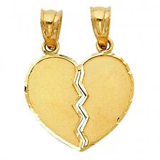 14K Yellow Gold Small Couple Broken Heart Pendant GJPT415