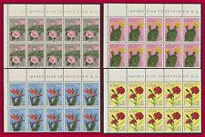 ALGERIE 1969 N°484/487** Fleurs Bloc de 10 Cactus,Rose etc,ALGERIA Flowers BLOCK