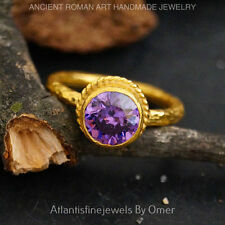 STERLING SILVER AMETHYST STACKING SOLITARE RING BY OMER 24K GOLD VERMEIL