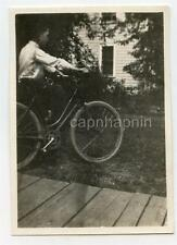 Boy with Bicycle Funny Story Written on Back Antique Vintage 1910s Photo