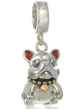 Bulldog Charm Bead - Genuine 925 Sterling Silver  - I Love My Puppy Dog