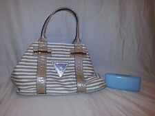 GUESS CANVAS White Tan TOTE HOBO PURSE SATCHEL SHOULDER HANDBAG NWT FREE Glasses