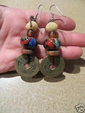 Antique Trade beads  Millefiori Glass Chinese Coins Charm Earrings