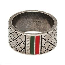 ANELLO GUCCI DIAMANTISSIMA UOMO MEN ARGENTO BRUNITO YBC295674001 NEW SILVER RING