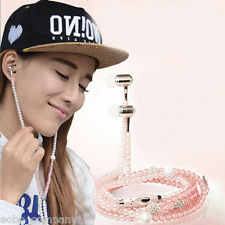 Pink Pearl Beads Necklace Universal 3.5mm Stereo Earphone Headset Ear Bud 1.2M