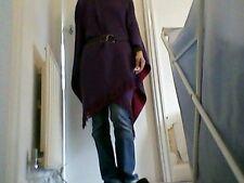Da Donna Lavorato A Maglia Reversibile Rosso/Prugna/Viola Wrap Scialle Poncho Cape (#033)
