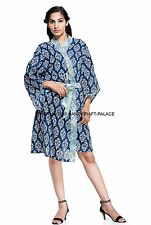 Ladies Floral 100% Cotton Summer Waffle Bath Robe / Dressing Gown Indian Kimono