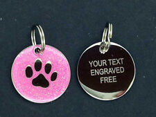 INCISA Dog Tag, ID Pet Tag, cane Disc. CROMO/Glitter 25mm SPEDIZIONE GRATUITA