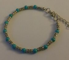 CB01 Adjustable Tibetan silver bracelet with turquoise beads GIFT BOXED Plum UK