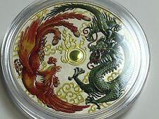 1 onza Plata 999 Moneda de Dragon Dragón & Phoenix Phönix 1$ Perth COLOR