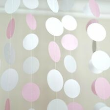 Pink White and Gray Circle Polka Dots Paper Garland Banner 10 FT Party Decor