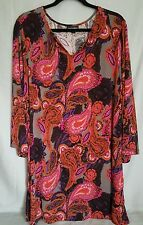 Fashion Bug Womens Dress Plus Size 2X multi color 3/4 sleeve Polyester & spandex