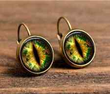 1 pair green dragon eyes bronze Glass cabochon18 mm Lever Back Earrings #427