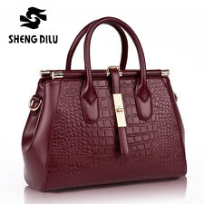 NEW Genuine Leather Crocodile Women's Satchel Handbag Tote Purse Shoulder Bag