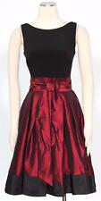 S.L. Fashions Black Red Size 14W Cocktail Taffeta Side Bow Dress Women'*