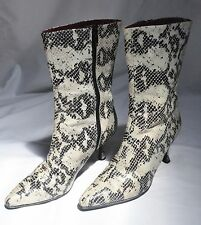BEAUTIFUL ROCK CHIC FAUX SNAKE SKIN / REAL LEATHER KITTEN HEEL 3/4 ANKLE BOOTS