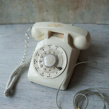 Vintage AT&T CS500DM Ivory White Rotary Dial Desktop Phone Works Retro