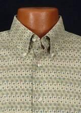 BURMA BIBAS Mens Olive Ethnic Print 60's Lawn Cotton Short Sleeve Shirt Sz Large
