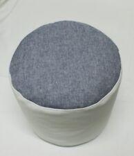 Bodenkissen passend zum Sitzsack Pouf Hocker Hellgrau / weiß Lederoptik