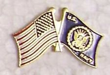 Hat Lapel Push Tie Tac Pin USA & Navy flags crossed NEW