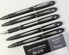 5pcsUni-Ball Jetstream SX-210 NEW roller ball pen BLACK ink ultra smooth